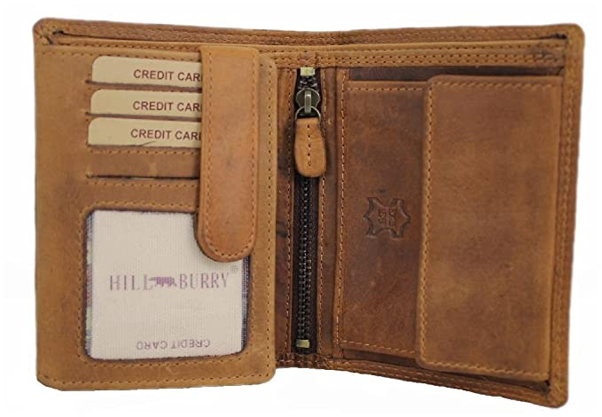 c8917516e2092 Herren Leder Geldbörse geräumiges Portemonnaie Vintage Geldbeutel Portmonee  mit Münzfach aus Echt-Leder Hochformat Hill Burry braun 6401S  Amazon.de   Koffer ...
