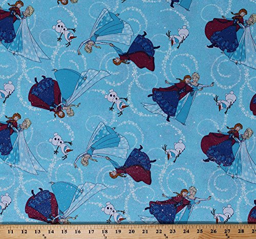 Cotton Frozen Elsa Anna Olaf Silver Glitter Sparkles Sisters Toss Blue Kids Disney Princess Cotton Fabric Print by the Yard (53322-1600715)