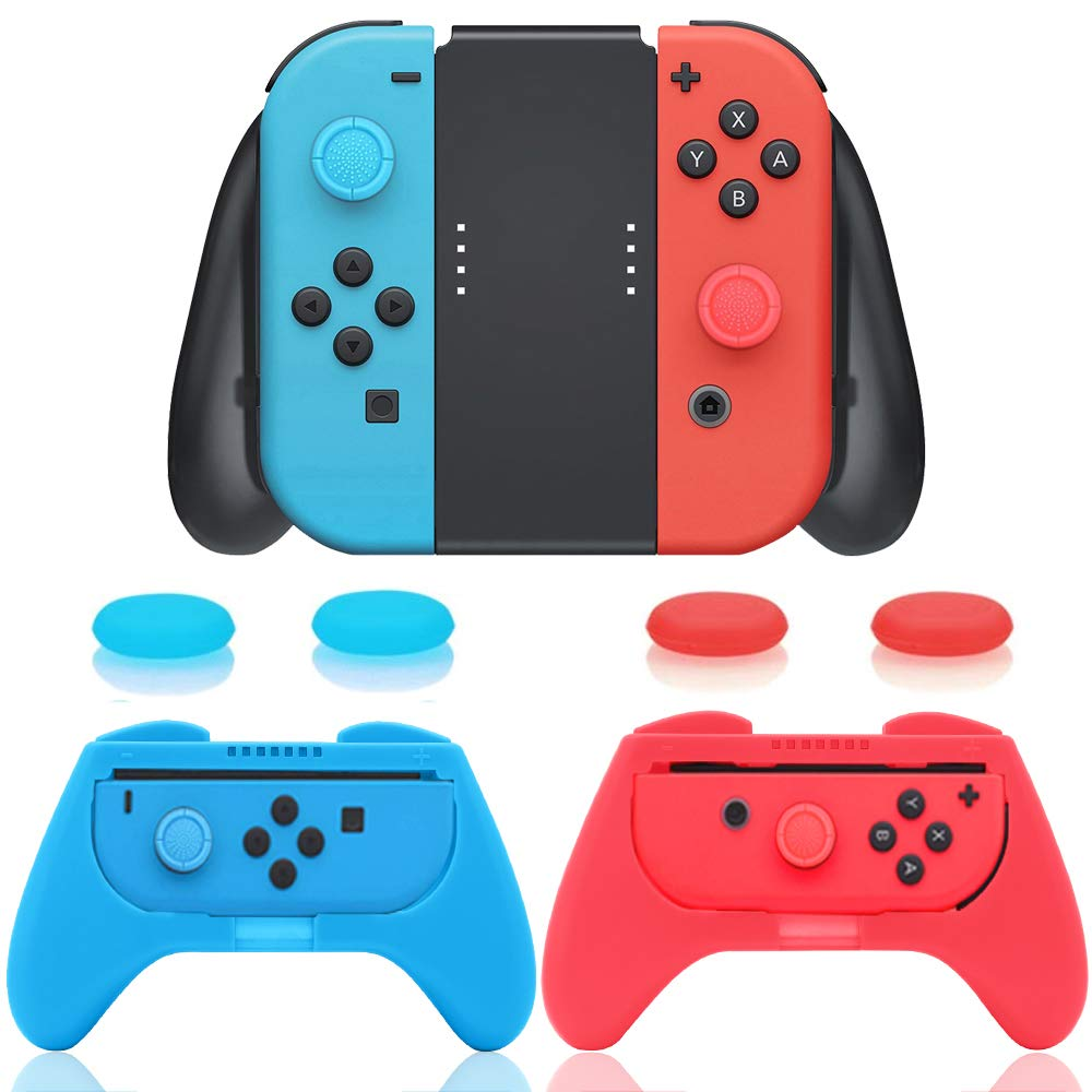 3 in 1 Controller Comfort Grip Kit Compatible with Nintendo Switch Joy-Con with 4 Thumb Grip Caps by TPFOON