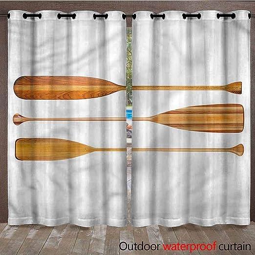 AndyTours - Cortinas Impermeables con Arandelas para Interiores y Exteriores, Cortinas de privacidad para Patio, Color Blanco, para Porche, terraza, pérgola, 2 Paneles: Amazon.es: Jardín