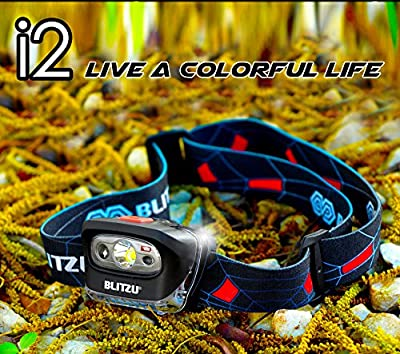 BLITZU Brightest Headlamp Flashlight 165 Lumen with Bright White Cree Led + Red Light for Kids, Men, Women. Perfect for Running, Camping, Home Projects, Waterproof with Adjustable Headband