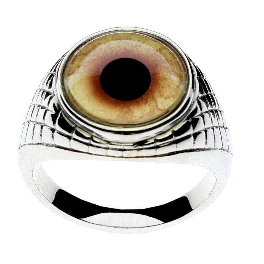 Steel Dragon Jewelry Men's Wolf-Werewolf Glass Eye Ring in an Egyptian-Inspired Setting by (Wolf, 8)