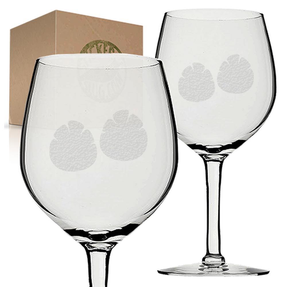 Stickerslug Engraved Animal Footprint Tracks Wine Glasses, 11 ounce, Set of 2