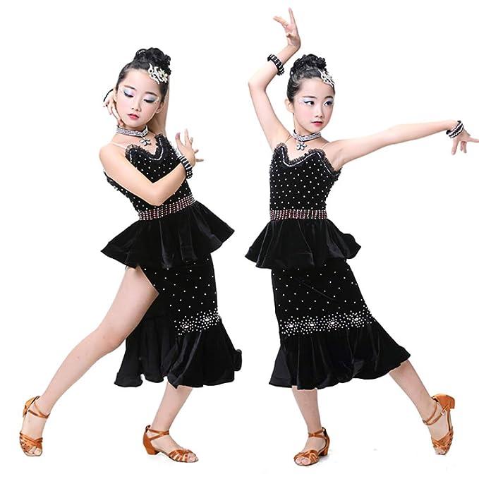 YONGMEI Traje de Baile - Trajes de Baile Latino para niños Nuevo Concurso  de Vestuario de Baile Latino Concurso de Lentejuelas Broche de Flecos  (Color ... dce7e0b9f4de0