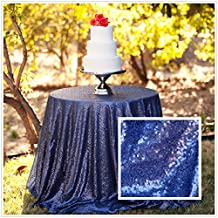 Diameter 48'' Round Navy Blue Sequin Tablecloths, Navy Blue Sequin Round Table cloths, Navy Blue Sequin Table linens for Wedding