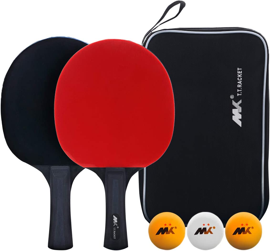 Yosoo Health Gear Table Tennis Racket and Balls Ping Pong Paddles Set of 2 Ping Pong Rackets Professional with 3 Balls Fit for Shake-Hand Grip Players