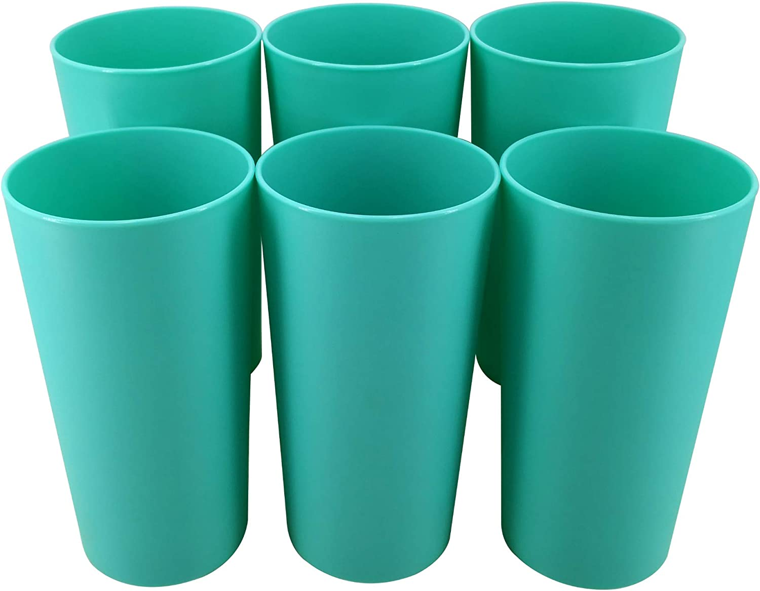 AOYITE 26-ounce Plastic Tumblers Kids Colorful Cups Durable Material for Kitchen Home Picnic Party Holiday BBQs Set of 6 (Teal)