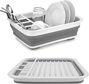LLygezze Collapsible Drying Dish Storage Rack, Dish Drainer Dinnerware Basket for Kitchen Counter RV Campers Portable Dinnerware Organizer