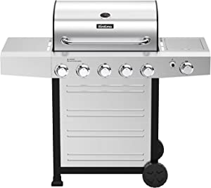 RINKMO Gas Grill,GG-24BBQ 670 sq inch 5 Burner Gas Grill,Movable BBQ Grills with Side Burner
