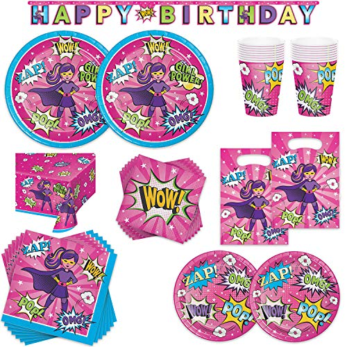 Superhero Girl Birthday Party Supplies Bundle - 16 Guest - Dinner Plates, Dessert Plates, Lunch Napkins, Beverage Napkins, Cups, Table Cover, Banner & Treat -