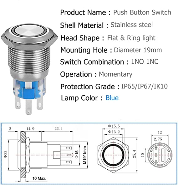 Amazon.com: Quentacy Momentary Push Button Switch 1NO1NC Waterproof Silver  Stainless Steel Shell 12V LED Ring Illuminated Switch with Wire Socket Plug  Suitable for 19mm 3/4 Mounting Hole (Red): AutomotiveAmazon.com