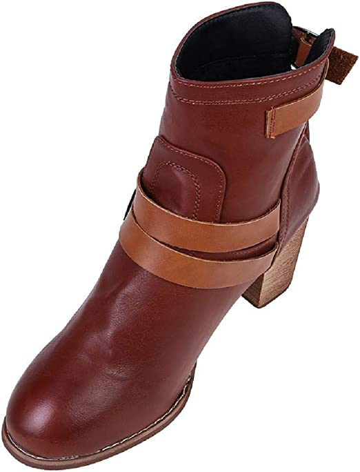 WOMENS ROSE GOLD BLOCK-HEEL LACE-UP ANKLE MILITARY POINTY BOOTS SHOES SIZES 3-9