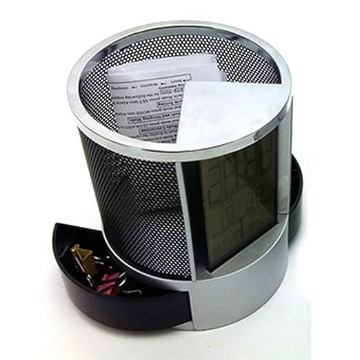 Lcd - Reloj digital de escritorio con alarma y soporte para bolígrafo, acero inoxidable,