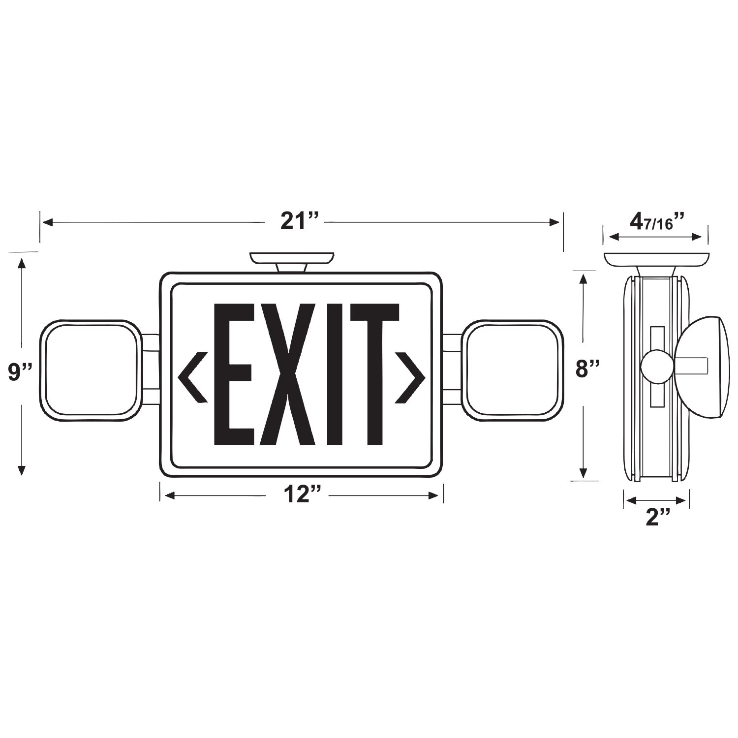 6 PACK - ALL LED EXIT & EMERGENCY COMBO - REMOTE CAPABLE (Red) Duel 120/277v - Self Diagnostic - Meets UL924, NFPA 101 Life Safety Code - 5 Year Warranty - EZ-Snap Top or End Mount