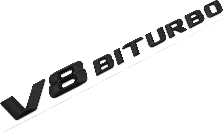Schwarz Matt VmG-Store 3D Emblem V8 Biturbo Schriftzug Kunststoff mit Schaumstoff-Kleber/ückseite Badge
