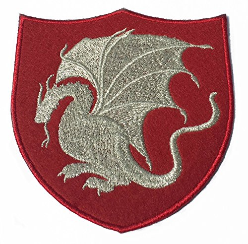 King Arthur Pendragon Patch (4 inch) Red Velvet + Silver Embroidery Iron/Sew on Applique Embroidered Dragon Emblem Badge Costume Cosplay Cloak Robe Jacket]()