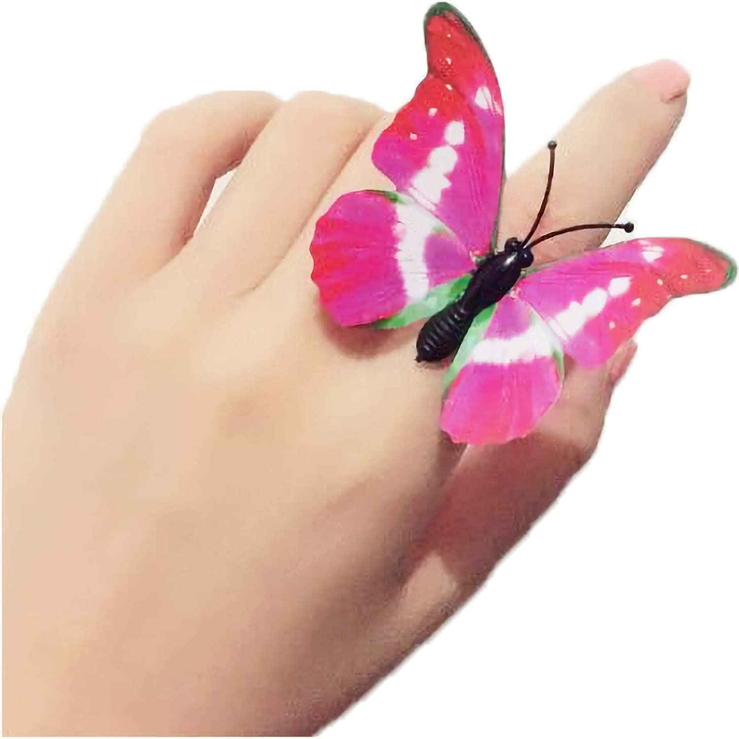 Childrens Jewelry Set No Repeating Colors Girl Pretend Play and Dress up Rings Little Girls Gift Adjustable Colorful Cute Rings for Little Girls Fineder 20PCS Butterfly Rings for Kids