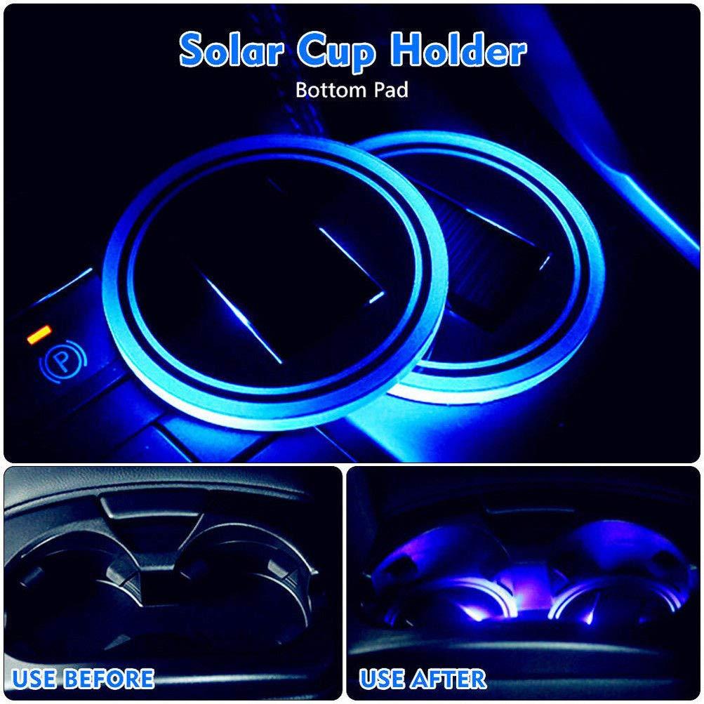 sunnymi /Énergie Solaire USB de Voiture Tasse Tapis de lumi/ère LED Porte-gobelet Dessous de Verre d/éclairage Atmosph/ère D/écoration Int/érieur Automobile d/ôme d/écoratif lumi/ères