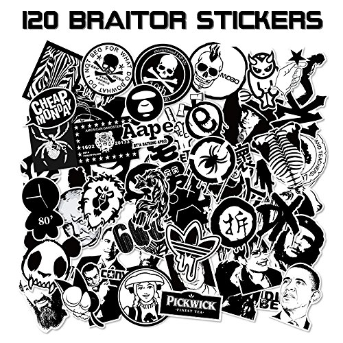 Price comparison product image BRAiTOR Laptop Stickers [120-pcs] Waterproof Vinyl Graffiti Decals Logo Stickers for Luggage, Kids, Motorcycle, Bicycle, Skateboard, Car with 120 Fishion Design