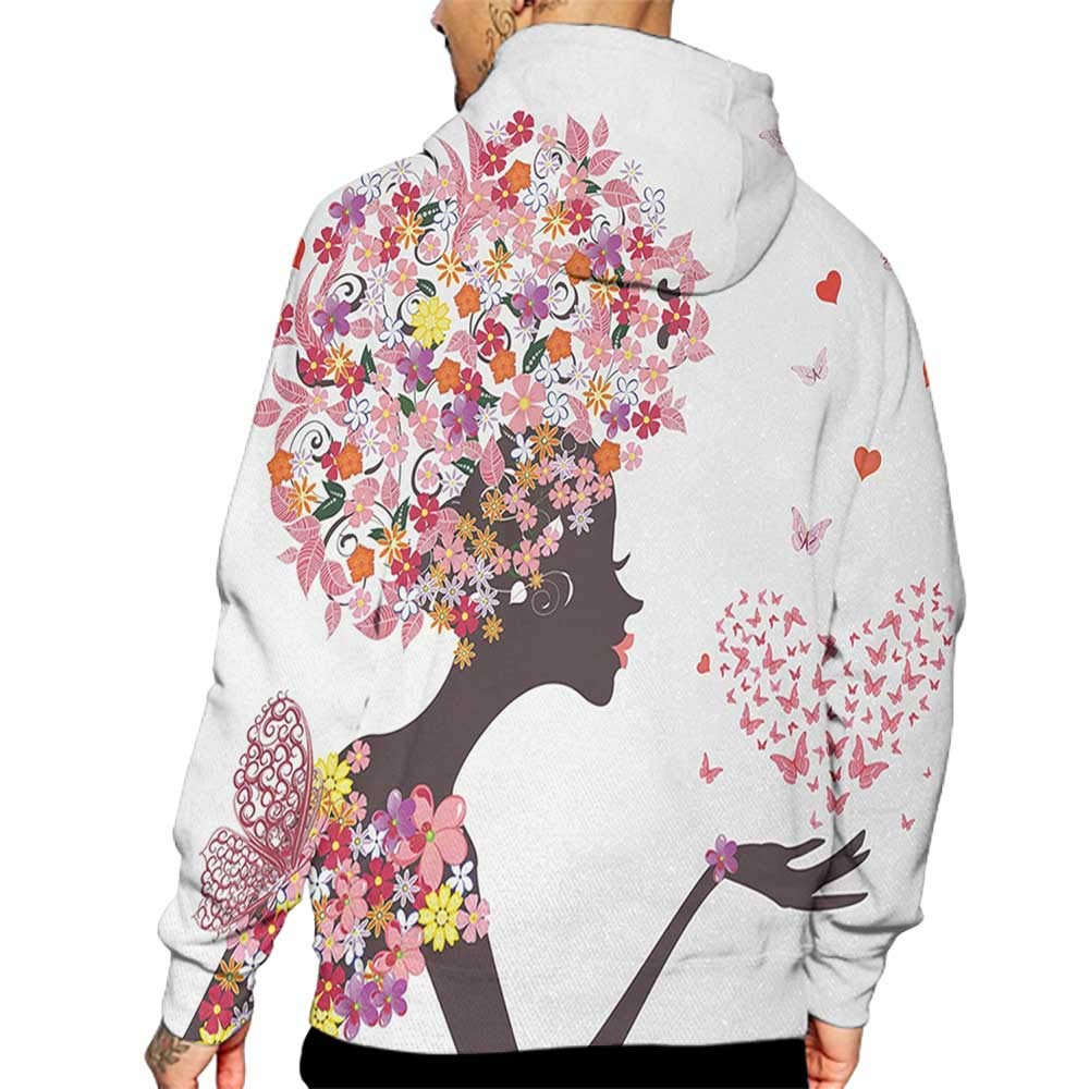 Unisex 3D Novelty Hoodies Butterflies,Girl with a Heart of Butterflies Enjoying Blossoms Summertime Fantasy Happy,Multicolor Sweatshirts for Girls
