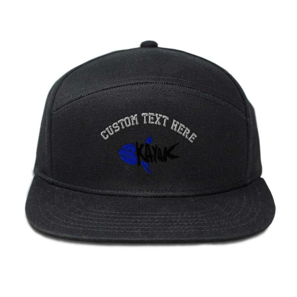 Custom Snapback Hats for Men /& Women Black and Blue Kayak Fishbone Embroidery