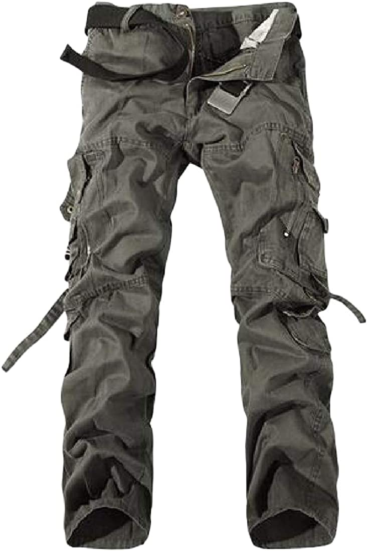 XiaoTianXinMen XTX Men Rugged Wear Straight Leg Big Tall Outdoor Cargo Pants Dark Gray M
