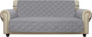 Sofa Cover Waterproof with Anti-Skip Dog Paw Print 100% Quilted Furniture Protector Sofa Slipcover for Children, Pets for Leather Couch (Light Gray, Sofa)