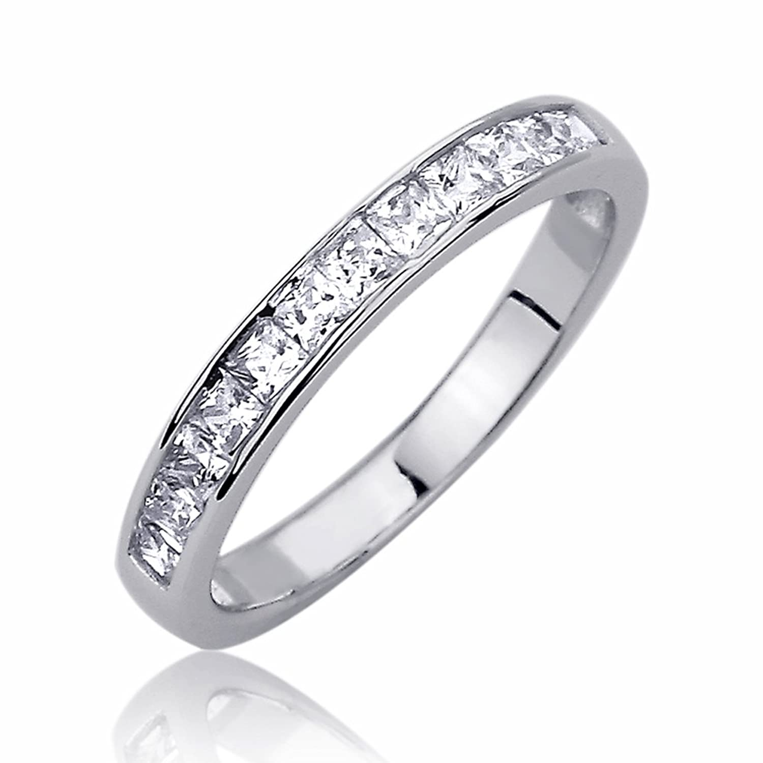 baguette zirconia band eternity and white full cubic gold bands ring round size