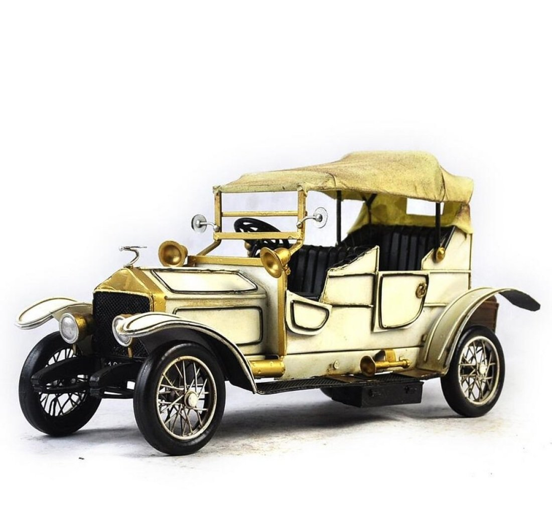 GL&G Retro manual Iron art white car model accessories Holiday gifts Home bar Cafe Tabletop Scenes Ornaments Collectible Vehicles Keepsakes,4214.517.5cm