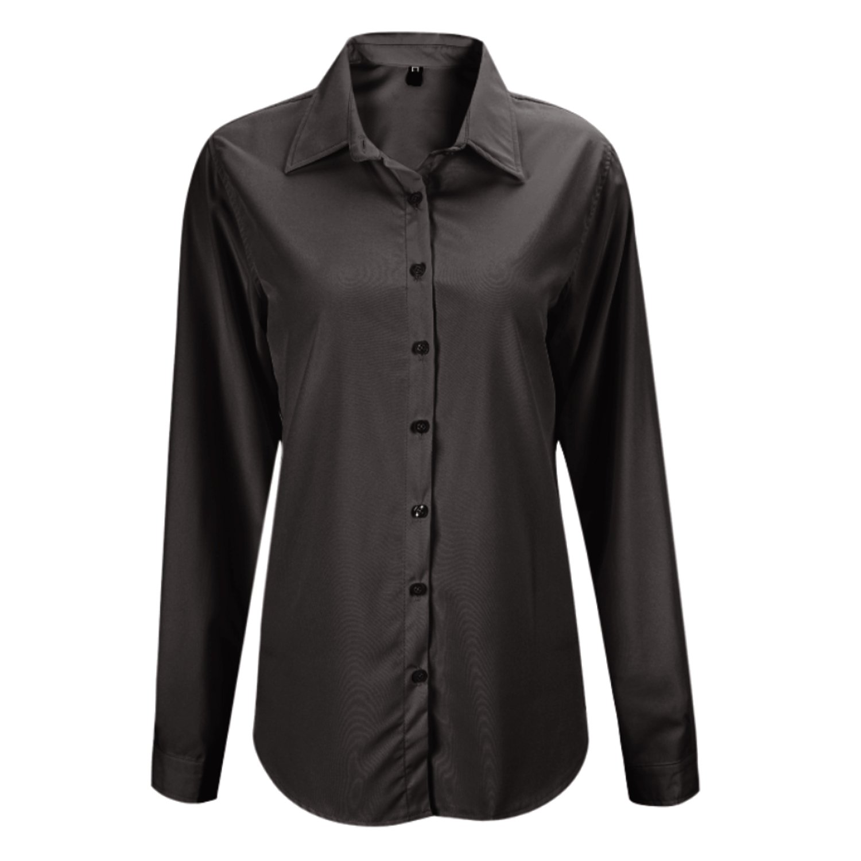 Bold Manner Damen Blase Hemd Langarm Damenbluse Einfarbig Bluse V-Ausschnitt Elegante Tops