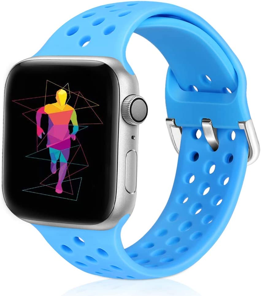 Runostrich Sport Band Compatible with Apple Watch Band 40mm 38mm, Soft Silicone Replacement Breathable Strap Compatible iWatch SE Series 6 5 4 3 2 1 for Women Men (Blue, 38mm/40mm)