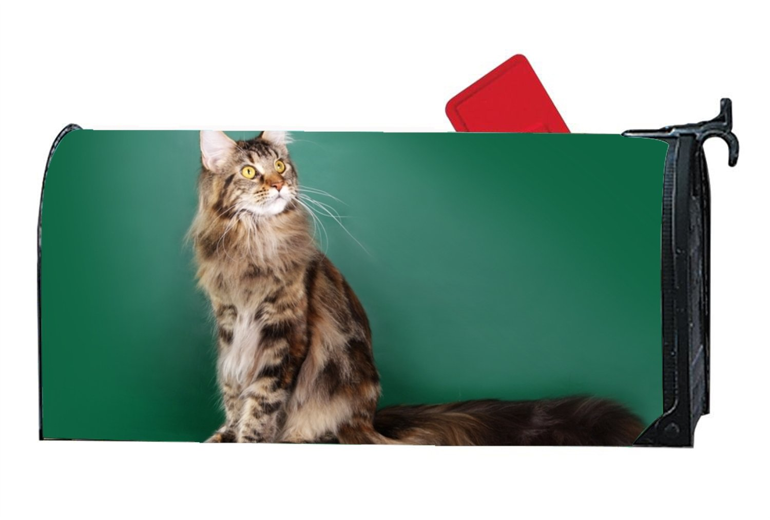 KSLIDS Shimmering Mailbox Makeover Beautiful Maine Coon Cat On A Green Mailbox Makover Cover Garden,Outdoor,Home Magnetic