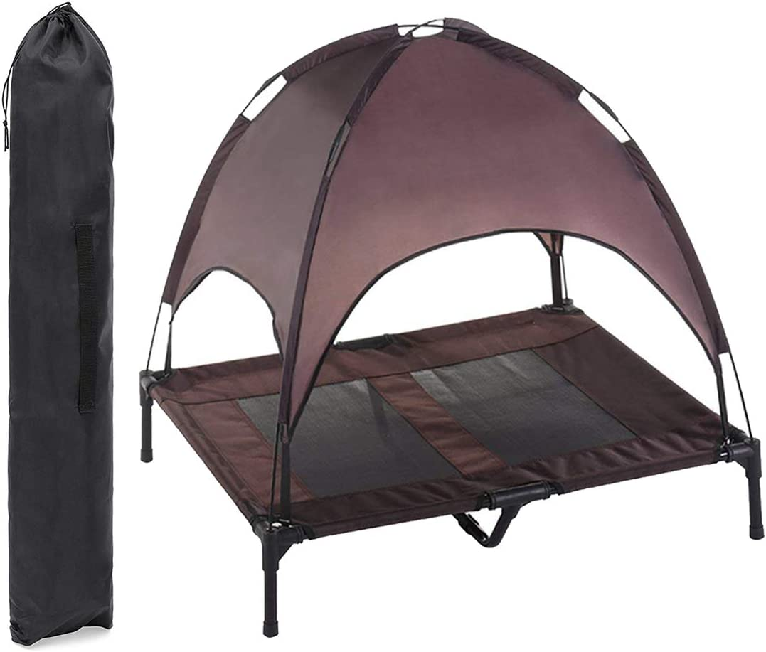 RELIANCER 30// 36// 48 Elevated Dog Cot with Canopy Shade 1680D Oxford Fabric Outdoor Pet Cat Cooling Bed Tent w//Convenient Carrying Bag Indoor Sturdy Steel Frame Portable for Camping Beach