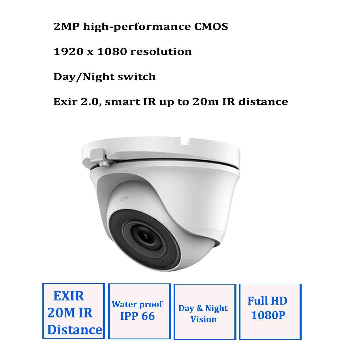 HIKVISION - Sistema de 4 cámaras de seguridad Sony 2,4 MP, DVR, 1080P Full HD, cámaras domo blancas, visión nocturna 20 m, P2P, 1 TB HDD: Amazon.es: ...