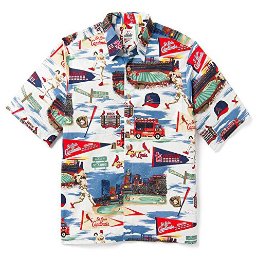 Reyn Spooner Men's St Louis Cardinals MLB Classic Fit Hawaiian Shirt, Scenic 2019, Large