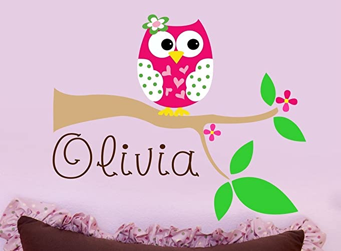 Nice Owl Wall Decal   Personalized Name Decal   Nursery Vinyl Wall Decal