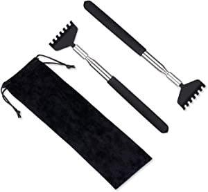 2 Pack Portable Extendable Back Scratcher, Metal Stainless Steel Telescoping Back Scratcher Tool with Carrying Bag