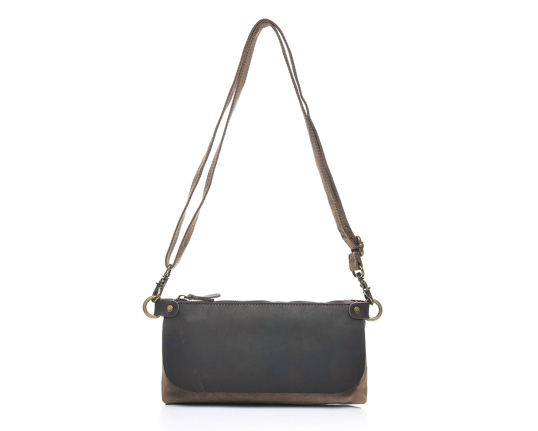 Bag Outdoor Leisure Ladies Messenger Bag Leather Shoulder Hand Zipper Multi-Functional Oil Bag Cross Section Canvas Bag Color : Brown, Size : S