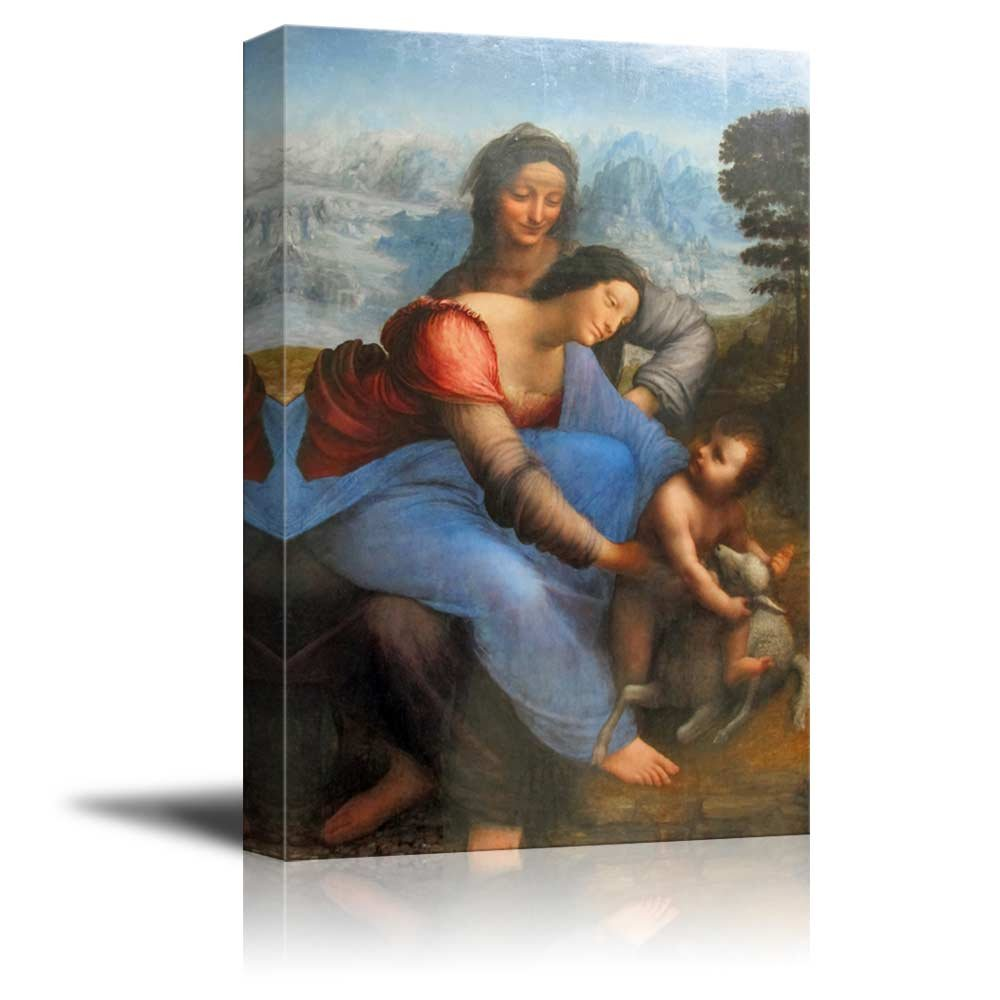wall26 The Virgin and Child with St. Anne by Leonardo da Vinci - Canvas Print Wall Art Famous Oil Painting Reproduction - 24'' x 36''