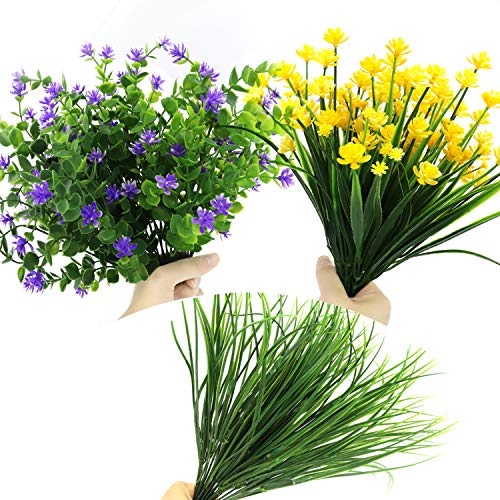 CEWOR 9pcs Artificial Flowers Outdoor UV Resistant Shrubs Plants Including Three Kinds of Flowers for Indoor Outside Hanging Planter Wedding Decor(Yellow, Purple, Green) (Colorful)]()