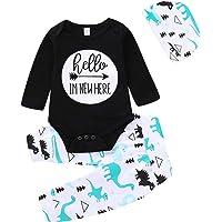 Haokaini 0-24 Monate langärmeliger Strampler für Neugeborene, Jungen und Mädchen, Dinosaurier-Hose, Hut Outfits für Kleinkinder