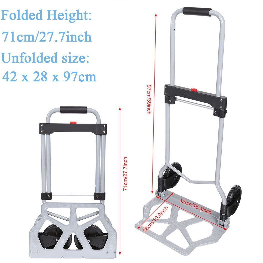 Heavy Duty Hand Truck & Dolly, 220 lb. Capacity Aluminum Portable Folding Luggage Utility Cart with2 Wheels for Shopping/Industrial/ Travel by Ferty (Image #2)