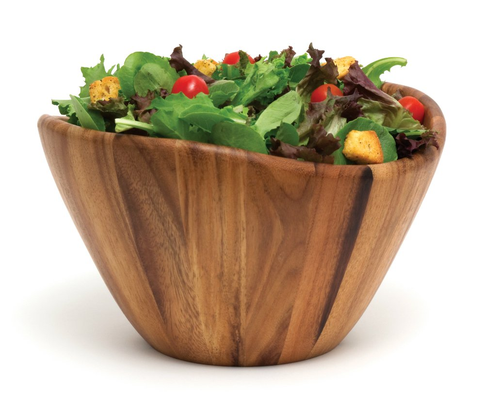 Lipper International 1174 Acacia Wave Serving Bowl for Fruits or Salads, Large, 12'' Diameter x 7'' Height, Single Bowl