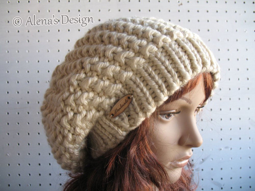 f892ad844a8 Amazon.com  Hand Knitted Slouchy Hat Children s Ladies Women Hat Made in USA  Free Shipping  Handmade