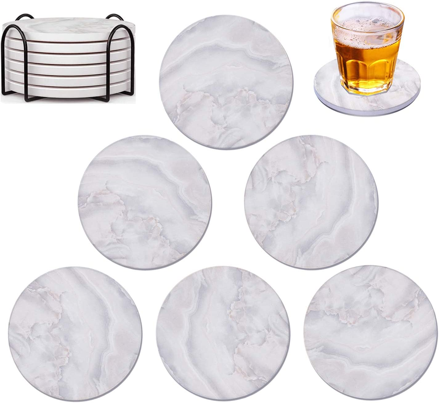 Coasters for Drinks with Holder, KilYn Absorbent Coaster Sets of 6, Marble Ceramic Coaster with Cork Back for Home Decor, Tabletop Protection, Great Gifts for Birthday Party Bar Housewarming