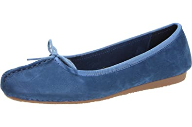 186c9b5d180 Clarks Ladies Leather Slip On Flats - Style - Freckle Ice Dark Blue Nubuck  Size UK