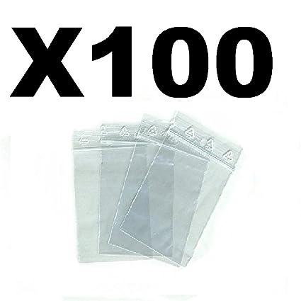 Bolsas para joyas o Funda de plástico zip. Grosor de 50 micrones, apertura y cierre más fáciles transparente, formato 70 x 100 mm, 100 unidades
