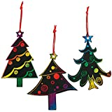 Magic Color Scratch Christmas Tree Ornaments (24 Count) - Crafts for Kids & Ornament Crafts