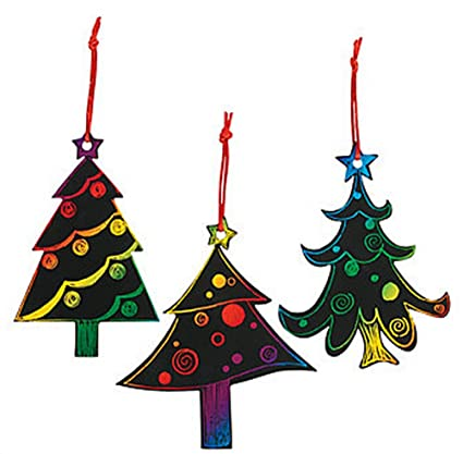 Magic Color Scratch Christmas Tree Ornaments 24 Count