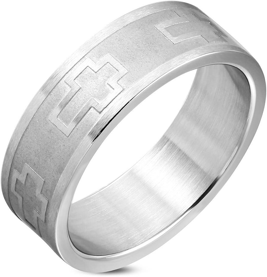 Stainless Steel Matte Finished Latin Cross Wedding Flat Band Ring